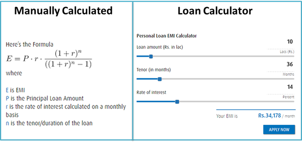 how to calculate personal loan interest manually