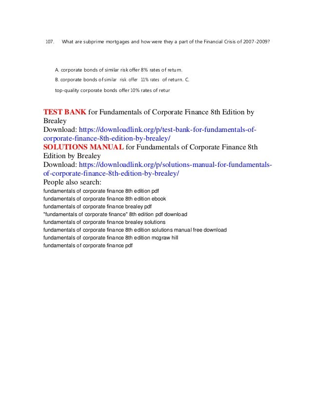 testbanku solution manual principles corporate finance edition brealey