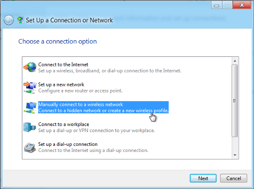 search for a network manually windows 8