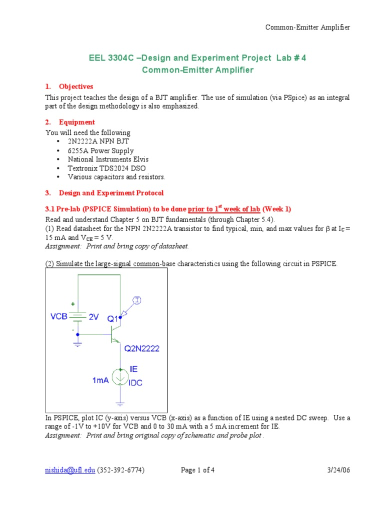 common collector amplifier lab manual