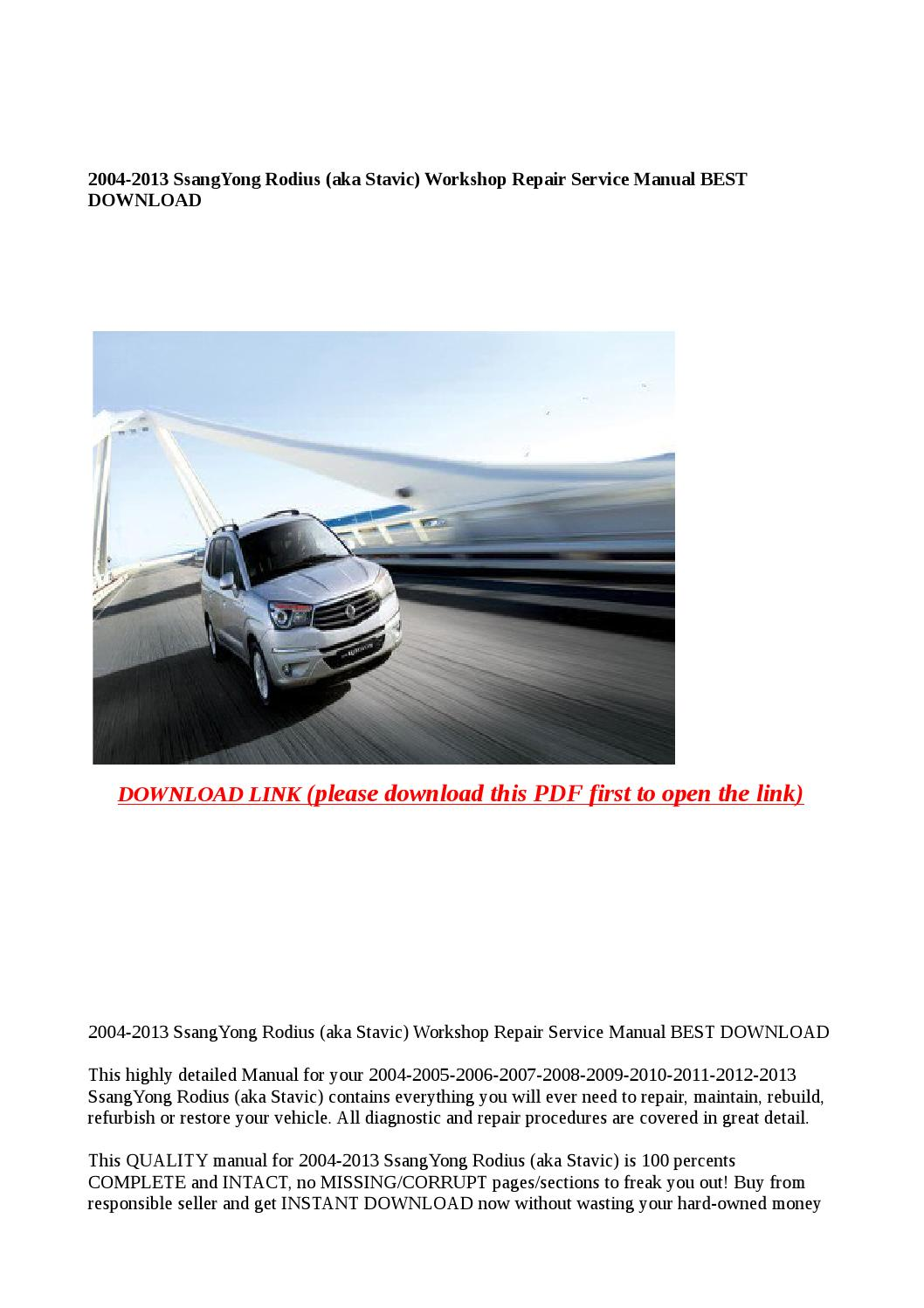 free ssangyong stavic workshop manual